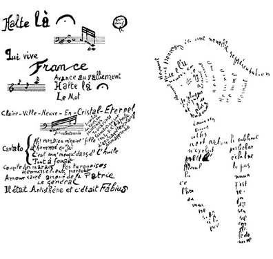 Examples of Calligrams by Guillaume Apollinaire