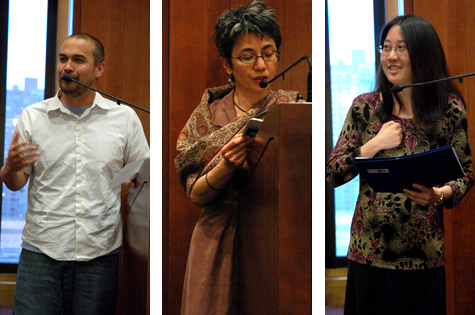 2011 Kundiman Faculty Jon Pineda, Kimiko Hahn, and Karen An-hwei Lee
